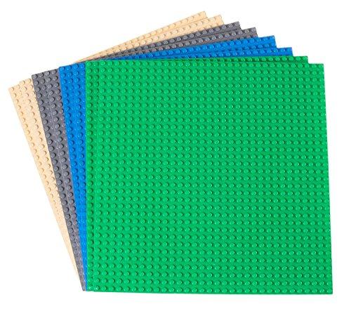 Strictly Briks - 8 Bases clásicas para Construir - para Hacer Torres, mesas y Mucho más - 100 {a6d7c0ca9f452c61e564b00a6d28178ad965a4109c75ae53873818945d418f3d} Compatible con Todas Las Grandes Marcas - 4 Colores: Azul, Gris, Verde y Arena - 25,4 x 25,4 cm