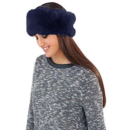 Boutique Bandeau pour femme en fausse fourrure Chapeau Bonnet Taille unique Bleu - Midnight