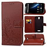 Guran® PU Ledertasche Case für Doogee X6 / X6 Pro Smartphone Flip Cover Brieftasche & Stent Funktionen Hülle Glücksklee Muster Design Schutzhülle - Braun