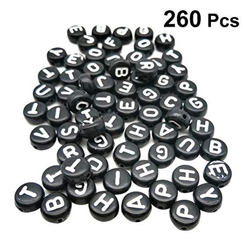 SUPVOX 260 Stücke AZ Alphabet Buchstaben Perlen Acryl Runde Perlen für DIY Armbänder Halsketten Schlüsselanhänger Schmuckherstellung (schwarz und weiß)