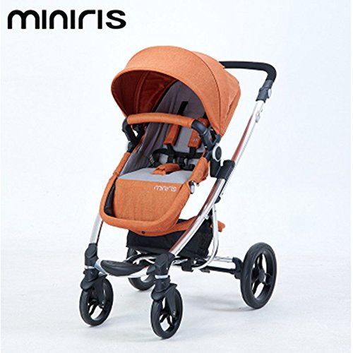 EUROPE HIGH LANDSCAPE BABY STROLLER BABY TROLLEY CAN SIT CAN LIE DOWN TWO-WAY SUSPENSION LIGHT FOLDABLE 4-WHEEL CHILDREN CART (GREY)
