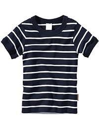 wellyou, Kurzarm-Unterhemd, dunkel-blau weiß, geringelt, für Jungen und Mädchen, 2er Set, 100% Baumwolle