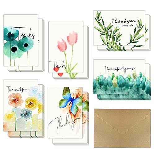 Thank You Cards Watercolour Fold...