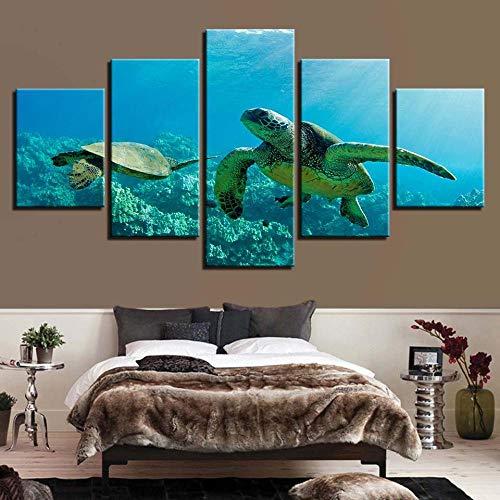 Liuuroc hd wall artist house decoration poster picture 5 panel turtle ocean living room stampa moderna su tela murale decorazione murale salotto appartamento stampe artistiche quadro stampa tel