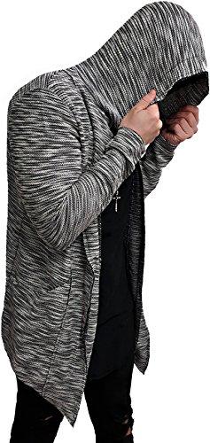 Camouflage Oversize Designer Sweat Jacke Cardigan Hoody Pullover Shirt Herren Hoodie Longsleeve m NEU Kapuzenpullover long Sweatjacke skater hip hop Sweatshirt Pulli longshirt body dope swag deep neck (S, Grau)