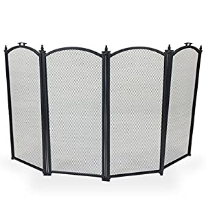 Simpa Berkshires 4 Panel Fire Place Guard Fire Screen Spark Flame Guard Curved Top 4 Panel Folding Design