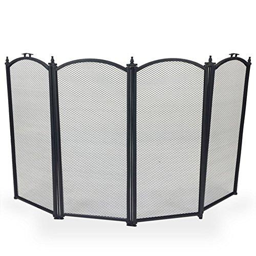 Simpa® Protector de chimenea fuego pantalla Spark llama Guardia parte superior curvada 4Panel diseño de plegable, negro