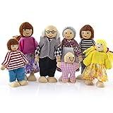 Bescita Glückliche Familie Holzmöbel Puppen Haus Familie Miniatur 7 Personen Set Puppe Spielzeug für Kind (E)