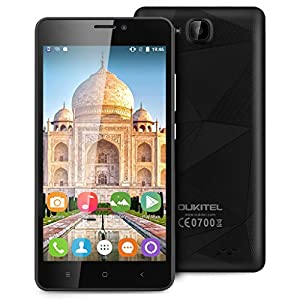 OUKITEL C3 5.0 Inch 3G Multi-Touch Screen Smartphone Android 6.0 MT6580 Quad Core 1G RAM 8G ROM Mobile Phone Dual SIM Cellphone (Black)