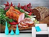 Weaeo Schinken Brot Gemüse Pfeffer Schneidebrett Essen 3D Tapete Fastfood Shop Restaurant Esszimmer Küche Wandmalereien-200X140Cm