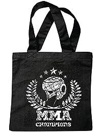 "Bolsillo Bolso Bolsa ""CAMPEONES MMA ARTE material mezclado Fightclub lucha de la calle de karate Boxeo Kick Boxing JUDO"" Bolsa de deporte Bolsas de Negro"