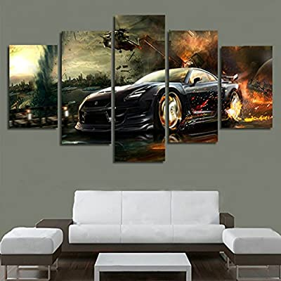 XrsArt 5 Panel Balck Sports Car Wall Art Picture Home Decoration Living Room Canvas Print Painting Wall Picture Print On Canvas (Unframed) Unframed FCa16 50 inch x30 inch - inexpensive UK light store.