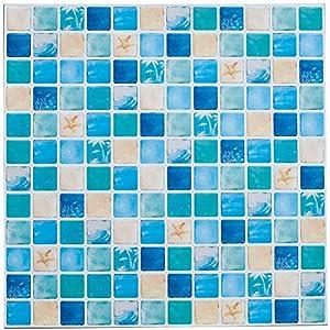 Profesticker 6 Blätter 12×12″(30.5×30.5CM) Fliesenaufkleber Selbstklebende Klebefolie 3D Fliesen Aufkleber Klebefliesen Fliesendekor Fliesenfolie Bordüre Deko Mosaikfliesen Wasserdicht Küche Badezimmer