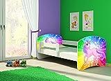 Clamaro 'Fantasia Weiß' 160 x 80 Kinderbett Set inkl. Matratze und Lattenrost, mit verstellbarem Rausfallschutz und Kantenschutzleisten, Design: 18 Einhorn Regenbogen