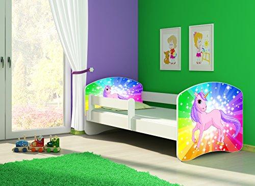 Clamaro \'Fantasia Weiß\' 160 x 80 Kinderbett Set inkl. Matratze und Lattenrost, mit verstellbarem Rausfallschutz und Kantenschutzleisten, Design: 18 Einhorn Regenbogen