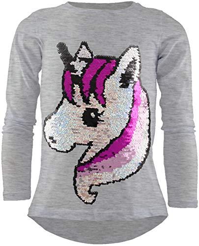 Unbekannt Unicorn Einhorn Mädchen Langarm Baumwolle Wendepailletten T-Shirt Bluse Long Shirt Pullover Pulli (Grau, 140-146)