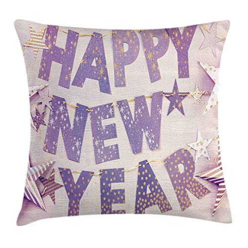 MLNHY Happy New Year Throw Pillow Cushion Cover, Calligraphy in Party Tools Hangings on The Wall and Striped and Dotted Stars, Decorative Square Accent Pillow Case, Multicolor,12 X 12 Inches (New In Halloween-partys Jersey)