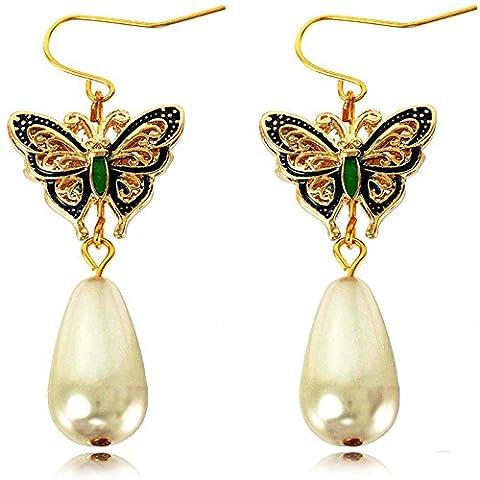 y-blue Mère de Saint-Valentin Bijoux Papillon Multicolore imitation perle–Boucles d'Oreilles Pendantes Femme –