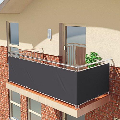 BALCONIO Premium Balkonbespannung - 500 x 85 cm - ANTHRAZIT - wasserabweisend