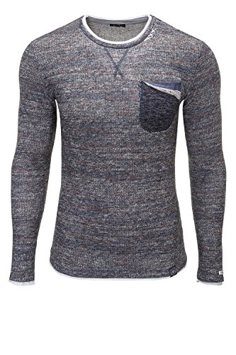 Key Largo Herren Strickpullover Pullover O-Neck Sweater Jeans Blue