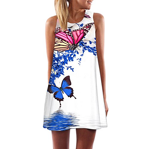 VEMOW Frauen Damen Sommer ärmellose Blume Gedruckt Tank Top Casual Schulter T-Shirt Tops Blusen Beiläufige Bluse(Y3Weiß 3, EU-42/CN-M)