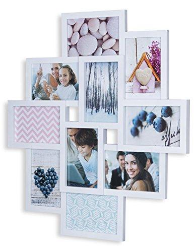 levandeo Fotocollage Bilderrahmen 55x50 mit Glasscheiben für 10 Fotos 10x15cm Weiß Fotogalerie Fotorahmen Bilderrahmen Collage
