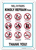 Will Patrons Kindly Refrain–Pool Rules Blechschild–35,6x 25,4cm–.060Heavy Duty Kunststoff–Made in USA–UV-geschützt und Wetterfest
