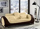 SAM 3-Sitzer Sofa Vigo, Creme/braun, Couch aus Kunstleder