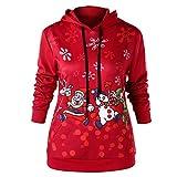 Yvelands Damen Tops Damen Frohe Weihnachten Weihnachtsmann Schneeflocke Print Kapuzenpulli Bluse Langarmshirt Pullover Tops Sweatshirt Herbst Winter