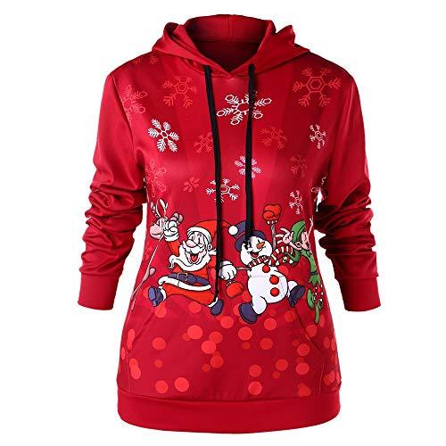 TWIFER Frauen Frohe Weihnachten Weihnachtsmann Santa Claus Schneeflocke Print Kapuzenpulli Bluse Kapuzenpullover