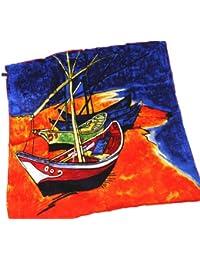 Prettystern P979 - 90cm Foulard en pure soie Echarpe Impressionniste - van Gogh - Fishing Boats on the Beach at Saintes-Maries