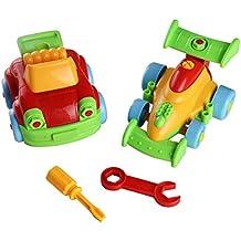 YOPTOTE Giochi Costruzioni in Plastica Assemblare Giochi Jeep e F1 Race Auto Giocattoli 2 Pezzi Set Estraibile per Bambini 3+