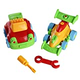 YOPTOTE Giochi Costruzioni in Plastica Assemblare Giochi Jeep e F1 Race Auto Giocattoli 2 Pezzi Set Estraibile per Bambini 3+ immagine