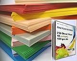 250feuilles A4* Megapack * Carte Stock 10couleurs différentes Livrés dans une Weston Plastique Transparent Craft Boîte de rangement