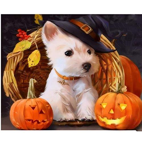 QERTYP DIY Malen nach Zahlen Kits Halloween Hund DIY Gemälde von Anzahl Tiere Moderne Acrylfarbe auf Leinwand Malerei einzigartiges Geschenk für Wohnkultur mit Rahmen