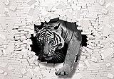 Fototapete 3D-Effekt Tiger durchbricht Ziegel-Wand (254 x 184cm - 2-teilig) Vlies-Tapete No 10400