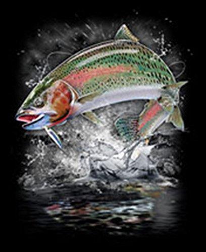 Angler-Langarmshirt/Longsleeve Herren mit Fisch-Druck: Jumping rainbow trout - lässiger Look Schwarz