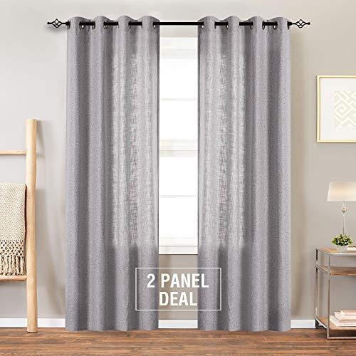 jinchan graue marokkanische Vorhänge - Leinenmischung mit Strukturierter Öse für Schlafzimmer (2 Paneel), Grey, 95