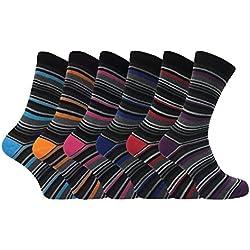 6 pares hombre vestir fantasia rayas modernos algodon calcetines (39-45 eur, DEE3)