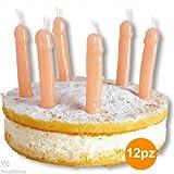 TrAdE shop - 12 CANDELINE TORTA A FORMA DI PENE PER PARTY FESTA ADDIO AL NUBILATO GADGET SEXY