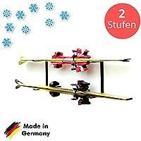 Skihalter | Wandhalterung Premium | 2 Ebenen | Beschichtete Skihalterung | Skiaufbewahrung | Richtige Lagerung an der Wand | Ordnungssystem für Garage/Keller | Ski-Zubehör | Inkl. Montagematerial