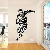 Joueur de Rugby Sport Sticker Mural Chambre Joueur de Football Stickers muraux Chambre d'enfant décoration en Vinyle 100x64 cm