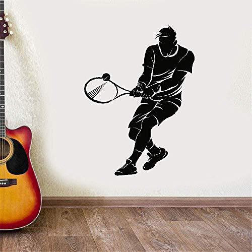 wandaufkleber 3d Hogar Tennis Sport Spieler für Jungen Kinder Schläger Ball für Sportzimmer -