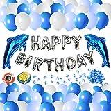 Decorazione festa di compleanno, 100x palloncini lattice blu e bianco, bollettini in metallo 2x per delfini e palloncini in lamina d'argento per feste romantiche, ragazze, ragazzi e adulti