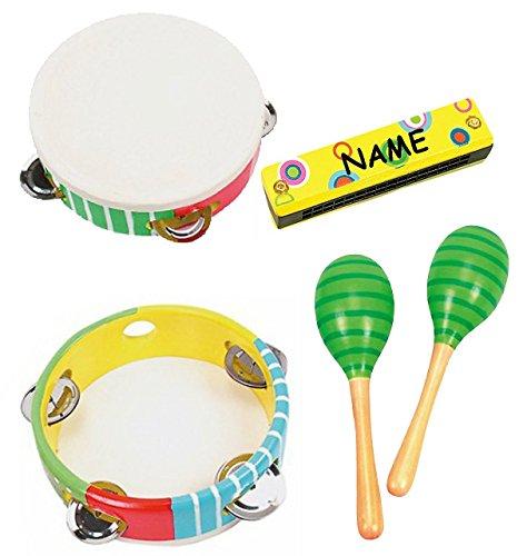 alles-meine.de GmbH 4 TLG. Set: Musikinstrumente: Mundharmonika + Tamburin + 2 Holz-Rasseln - incl. Name - Perkussion - aus Holz - für Kinder & Erwachsene - Musikintrument / Inst..
