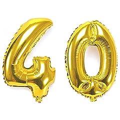 Idea Regalo - Ouinne Palloncino 40 Anni Numero Compleanno Festa Gas Elio Stagnola Palloncini per Decorazione Partito, 40 Pollici (Oro)