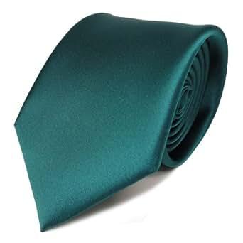 TigerTie Designer cravate en vert foncé unicolor - satin brillant - Tie