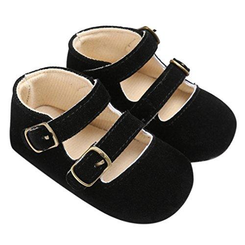 kingko® Geeignet für 0 bis 18 Monate Babyschuhe Boy Girl Neugeborene Crib Soft Sole Schuh SneakersPU Leder Schwarz