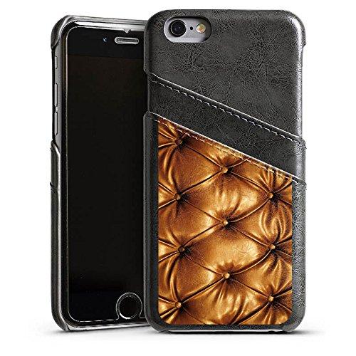 Apple iPhone 5s Housse Étui Protection Coque Motif cuir Sofa Sofa look cuir Étui en cuir gris