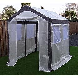 Invernadero de aluminio Invernadero Caseta de jardín Vivero de vegetación| SORARA | 2 x 2,50 m | 40 kg | Ventanas, mosquitero, puertas | Blanco / PE transparente